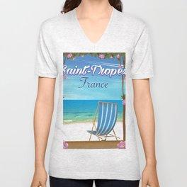 Saint-Tropez France Travel poster Unisex V-Neck
