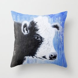 Black and White Cow Acrylic Painting Throw Pillow