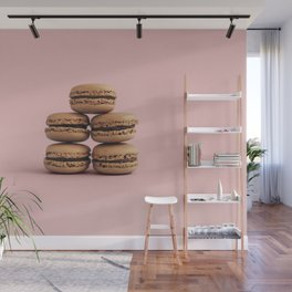 Macaroons on pink background Wall Mural