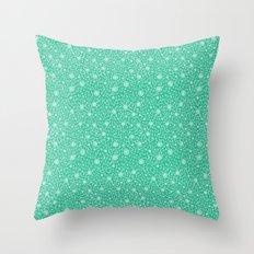 Dahlia Pattern, teal Throw Pillow
