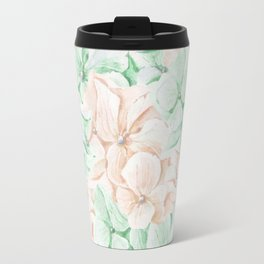 Pastel green coral hand painted watercolor elegant floral Travel Mug