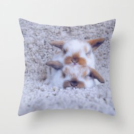 Bunny pile up Throw Pillow