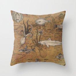Sea Life Illustrated Diagram Throw Pillow