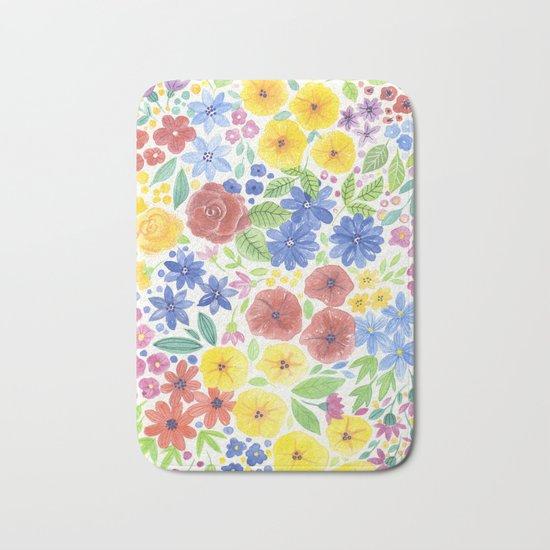 Doodle floral garden in watercolor Bath Mat