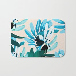 Big leaves blue Bath Mat