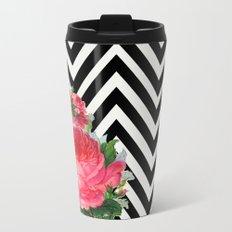 FLORAL BLACK AND WHITE CHEVRON Metal Travel Mug