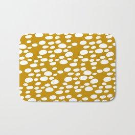 Monstera Leaf Hole Pattern - mustard yellow Bath Mat