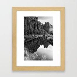 Smith Rock Morning Glow bw Framed Art Print