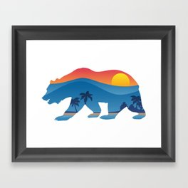 California bear with superimposed mountains and beach shoreline Framed Art Print