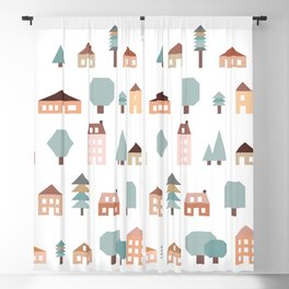 Neighborhood of Houses, Apartments in Muted Earth Tones Blackout Curtain