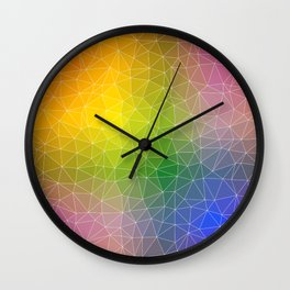 Triangulated Rainbow Background Pattern Wall Clock
