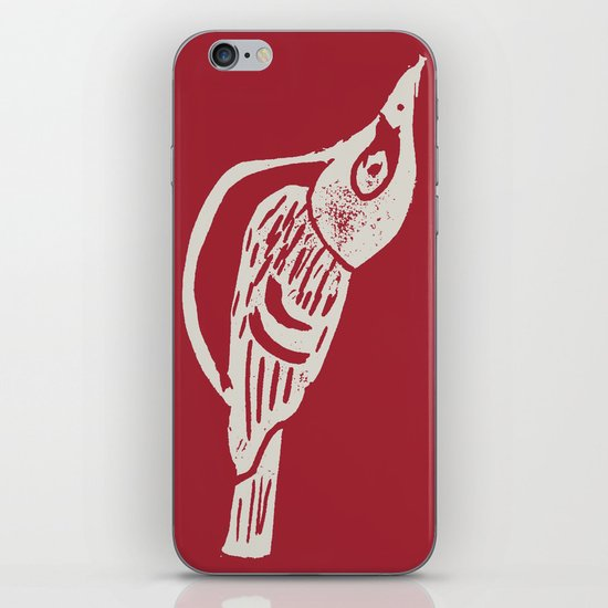Black Capped Vireo - Hand Carved Stamp iPhone & iPod Skin