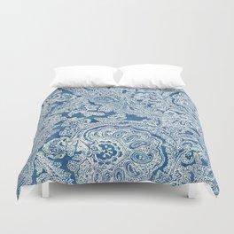 Blue Boho Paisley Pattern Duvet Cover