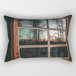 Lumberjack Cabin Window // Grainy Reflection of the Sunset and Trees Rectangular Pillow