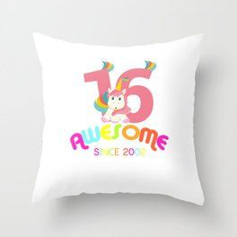 Awesome Since 2002 Unicorn 16th Birthday Anniversaries Throw Pillow