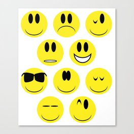 Yellow Face Emotions Canvas Print
