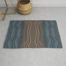 Crashing Ocean Waves - Diffuse Blue Beige Abstract Shapes Rug