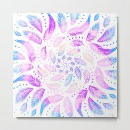 Feathery Boho Mandala - Iridescent Rainbow - Dreamcatcher  Metal Print