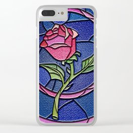 Beauty and the Beast Enchanted Rose Stained Glass Clear iPhone Case