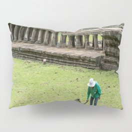 Trimming Grass With a Machete, Angkor Thom, Siem Reap, Cambodia Pillow Sham