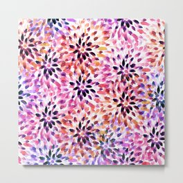 Colorful abstract watercolor flower pattern Metal Print