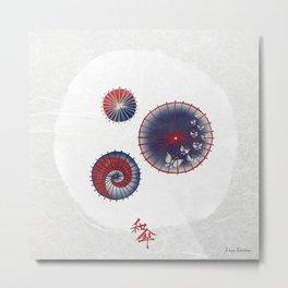 Wagasa (和傘 / Oil-paper umbrella) Metal Print
