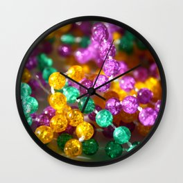 Neon purple yellow green colorful colors beads Wall Clock