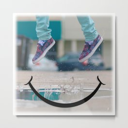 Smiley Face Puddle Metal Print