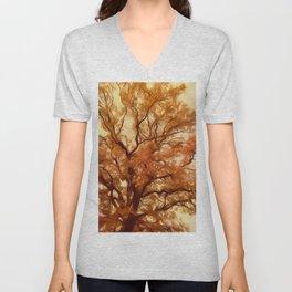 Autumn Massive Tree Yellow Unisex V-Neck