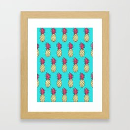 Pineapple Jive - Teal Wineberry Framed Art Print