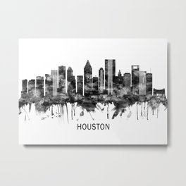 Houston Texas Skyline BW Metal Print