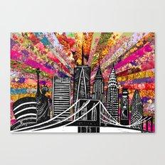 Linocut New York Blooming Canvas Print
