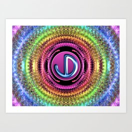 JD Logo - Groovy Fractal Circles Art Print