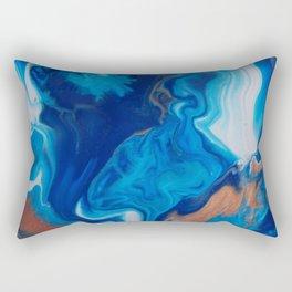 Fluid Nature - Blue Smoke - ABstract Acylic Pour Art Rectangular Pillow