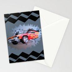 Hot Wheels Car Crashing Through Grey Wall Stationery Cards