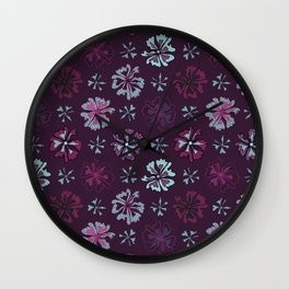 Purple Graphic Large Scale Flower Blooms Pattern Wall Clock