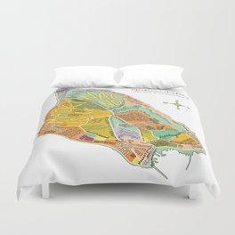 Mackinac Island Illustrated Map Duvet Cover