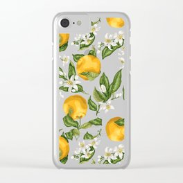 Citrus OrangeTree Branches with Flowers and Fruits Clear iPhone Case