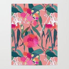 Australian Gumnut Eucalyptus Floral in Dusty Peach Poster
