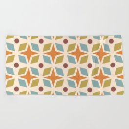 Mid Century Modern Abstract Star Dot Pattern 441 Orange Brown Blue Olive Green Beach Towel