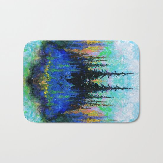 Blue Spruce Island Abstract Art Bath Mat