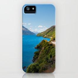 Scenic winding road at Lake Wakatipu, New Zealand iPhone Case