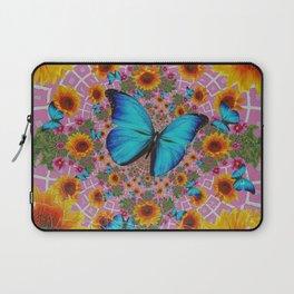 GRUNGY SUNFLOWER & BLUE BUTTERFLIES  PINK PATTERN Laptop Sleeve