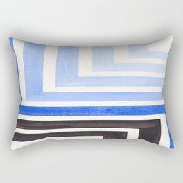 Marine Blue Mid Century Modern Watercolor Colorful Ancient Aztec Art Pattern Minimalist Geometric Pa Rectangular Pillow