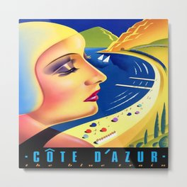 Cote d'Azur Blue Train Metal Print