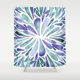 Symmetrical drops - purple and turquoise Shower Curtain