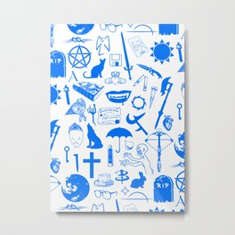Buffy Symbology, Blue Metal Print