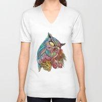 gemma V-neck T-shirts featuring Zombie Owl by Gemma Pallat by ToraSumi