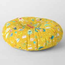 Party monsters (yellow) Floor Pillow