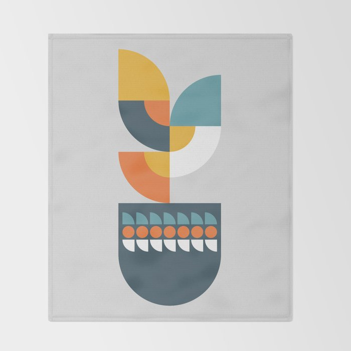 Geometric Plant 01 Throw Blanket